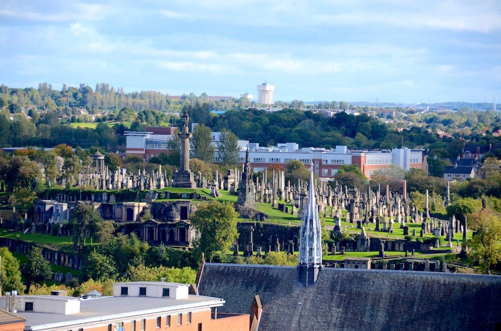 Glasgow Necropolis with the spire of the Barony church in the foreground.