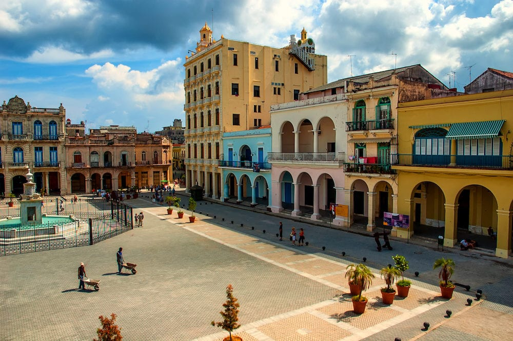 Havana, Cuba on . - View of the Placa Vieja in the historic center of Havana, Cuba.