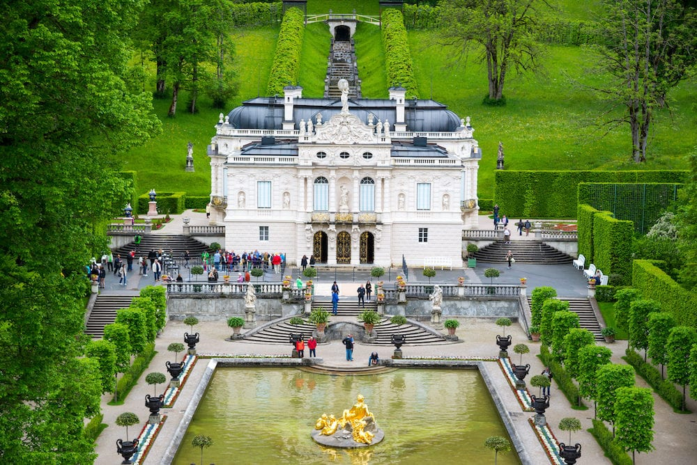 Ettal Germany - Linderhof Palace in Baviera Germany one of the castles of former king Ludwig II.