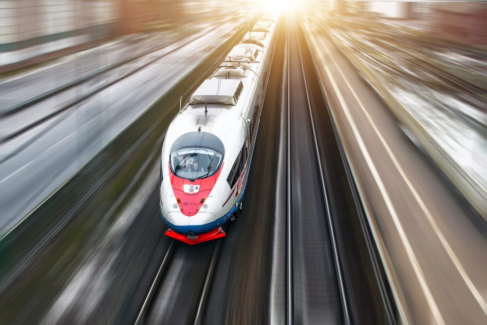 High-speed train Sapsan rides on the route Moscow-St. Petersburg.