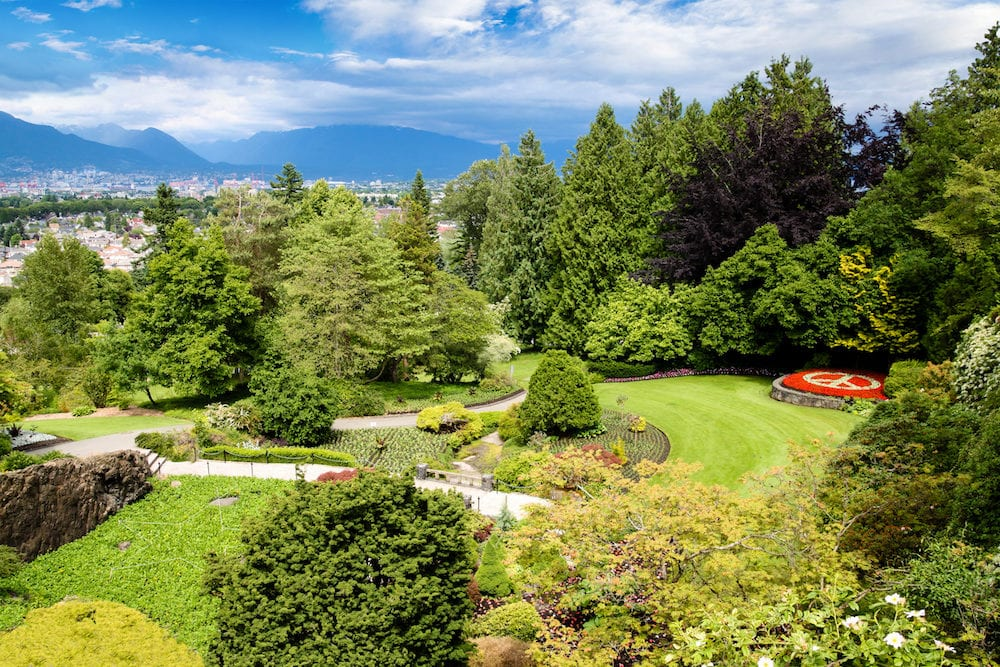 Queen Elizabeth Park in Vancouver. At 152 metres above sea level the public park is the highest point in Vancouver with spectacular views of the city and mountains on the North Shore.