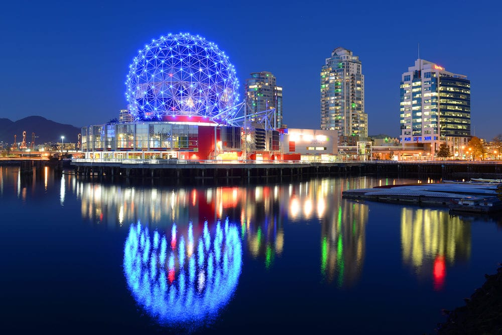 VANCOUVER - Vancouver Science World at night, Vancouver, British Columbia, Canada. This building was designed for EXPO 86.