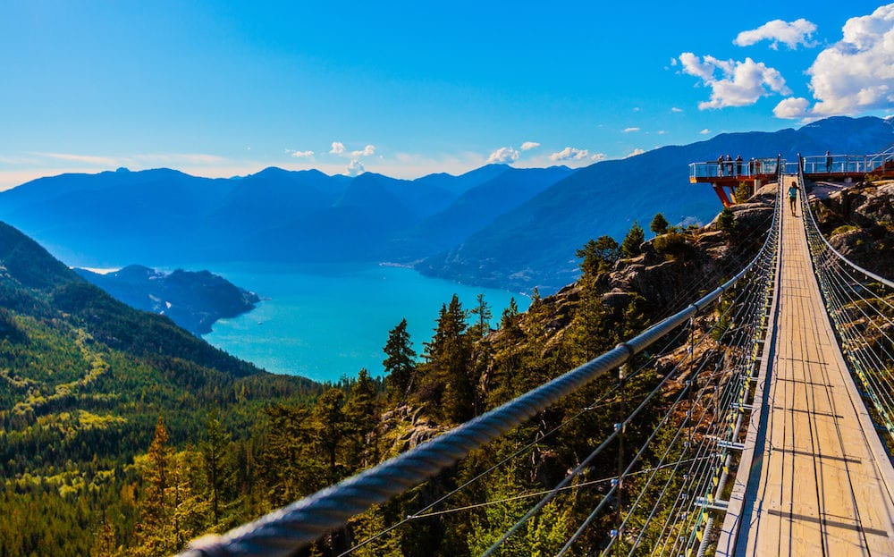 Squamish BC Canada - The Sea to Sky Gondola ride the Summit Viewing Deck and Sky Pilot Suspension Bridge are exhilirating experiences in the shadow of Sky Pilot Mountain peaks.