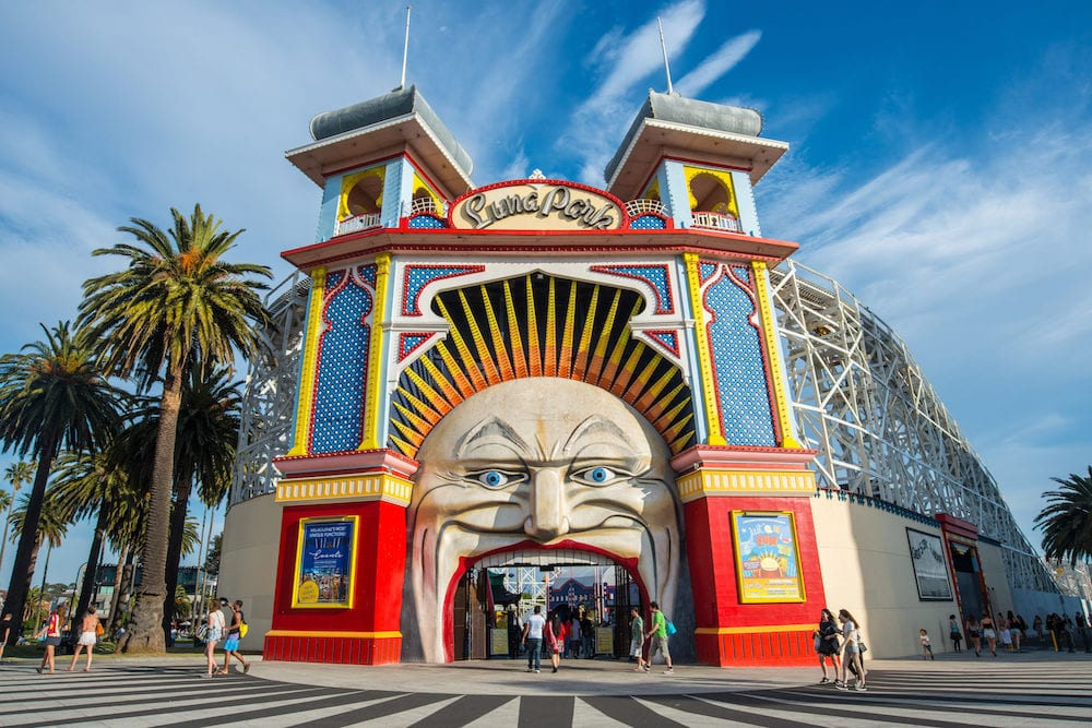 Melbourne, AUSTRALIA - Luna park the iconic amusement park of Melbourne, Australia.
