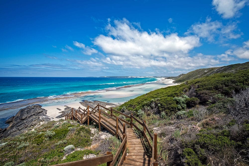 Western Australia - rough costline with stairway to the beach