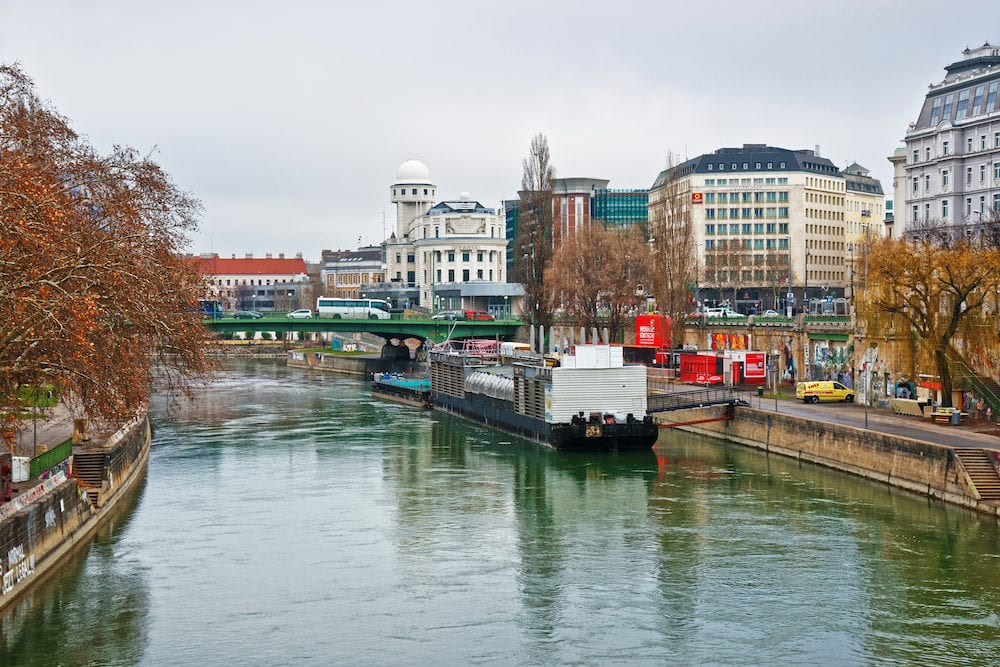 Vienna Austria -: Water transport at Danube Canal in Leopoldstadt of Vienna Austria.