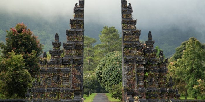 Traditional big gate entrance to temple. Bali Hindu temple. Bali island Indonesia