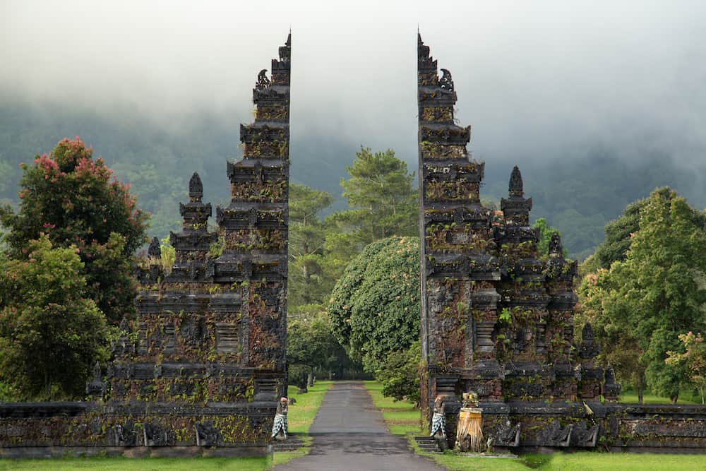 Traditional big gate entrance to temple. Bali Hindu temple. Bali island Indonesia