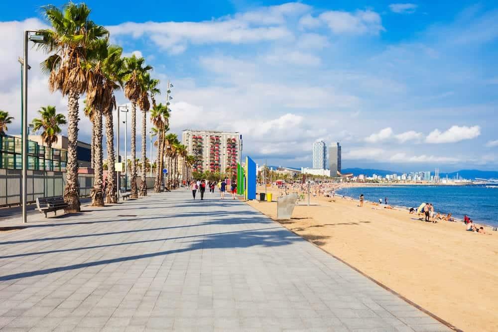 Playa de la Barceloneta city beach in the centre of Barcelona city, Catalonia region of Spain