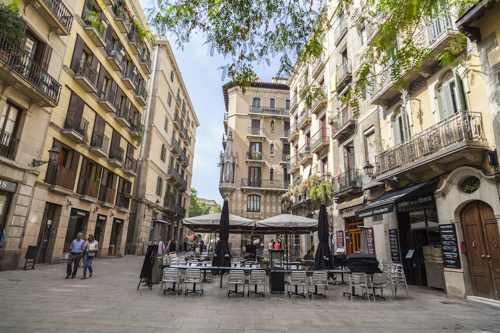 BARCELONA,SPAIN:Street in El Born,trendy quarter in historic center of Barcelona.