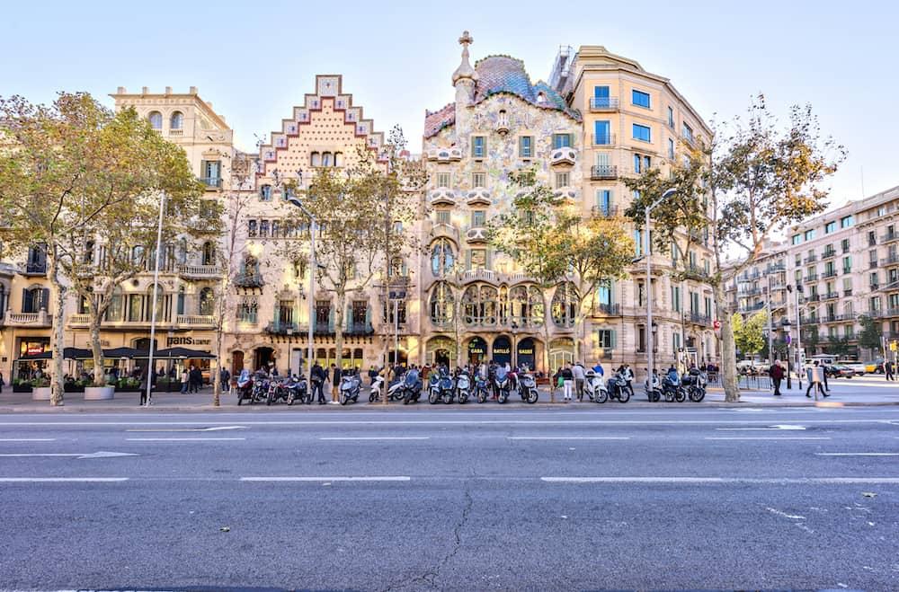 Barcelona, Spain - .: Facade Casa Batllo, designed by the famous architect Antoni Gaudi. Passeig de Gracia Located in the Eixample district
