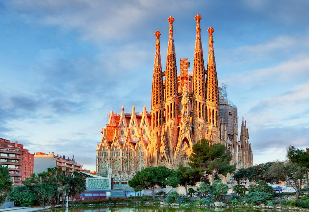 BARCELONA, SPAIN - : View of the Sagrada Familia, a large Roman Catholic church in Barcelona, Spain, designed by Catalan architect Antoni Gaudi