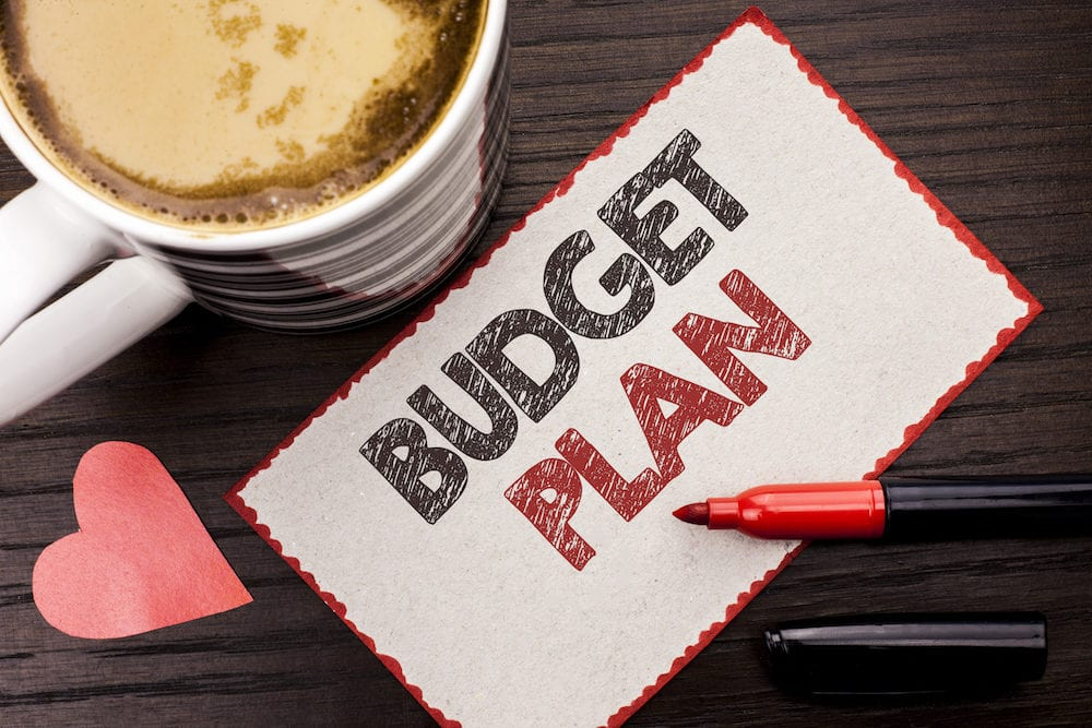 Text sign showing Budget Plan. Conceptual photo Accounting Strategy Budgeting Financial Revenue Economics written Sticky Note the wooden background Coffee Cup Heart Marker next to it.
