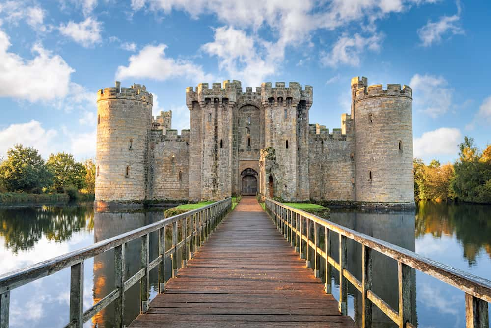 Bodiam, United Kingdom - : Moated castle near Robertsbridge in East Sussex, England as seen at sunrise. It was built in 1385.