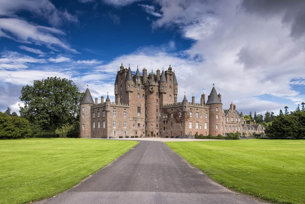Glamis Castle is situated beside the village of Glamis in Angus. It is the home of the Countess of Strathmore and Kinghorne, and is open to public.