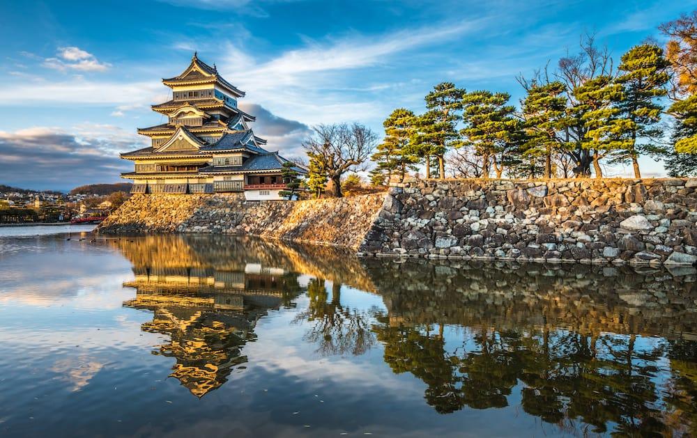 Matsumoto castle at sunset, national treasure of Japan