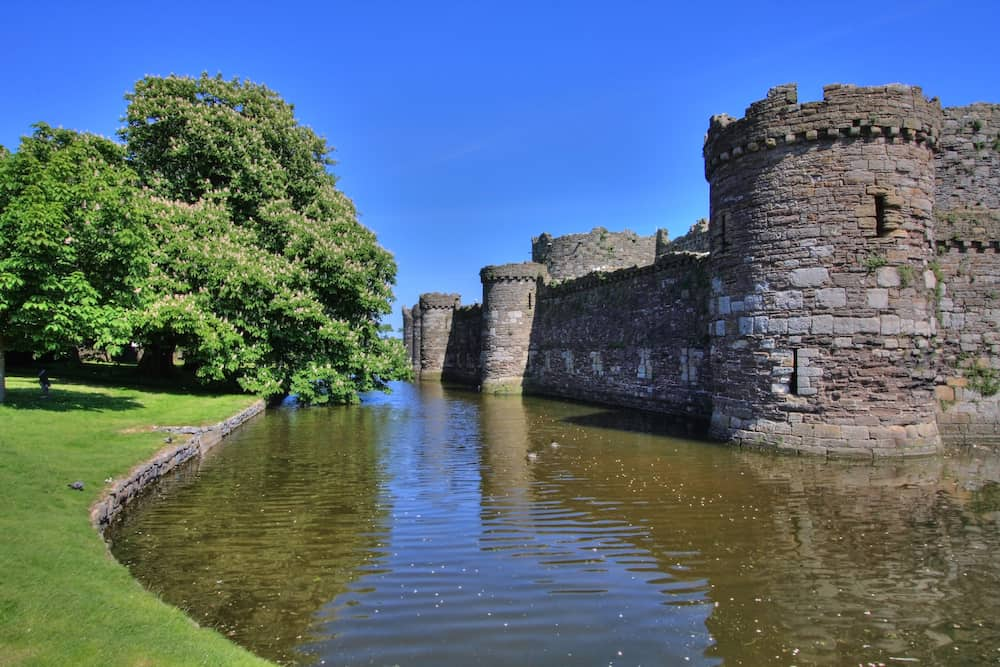 Beaumaris moat town and castle on the North Wales coast