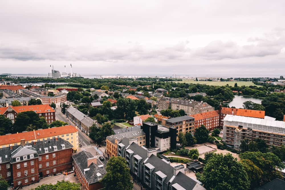 Copenhagen Denmark - Aerial view of Christiania in Copenhagen a cloudy day of summer. Also known as Freetown Christiania is an autonomous settlement.