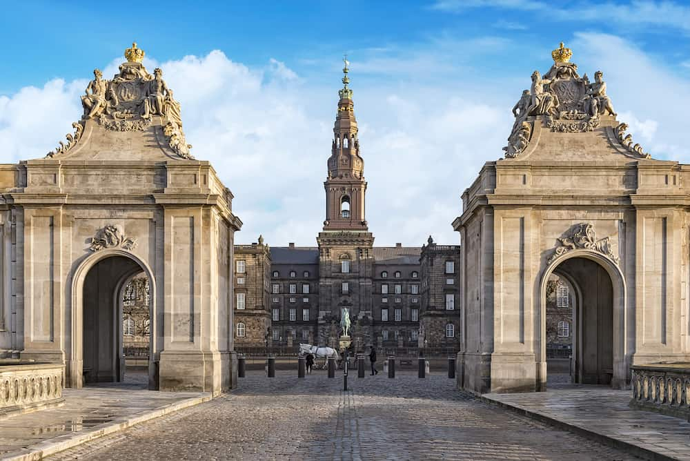 Christianborg palace Entrance view in Copenhagen Denmark