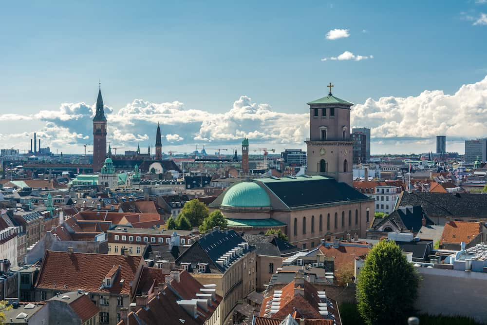 Cityscape of Copenhagen viewed from the top of the round tower (rundetaarn). Copenhagen is the capital and most populous city of Denmark.