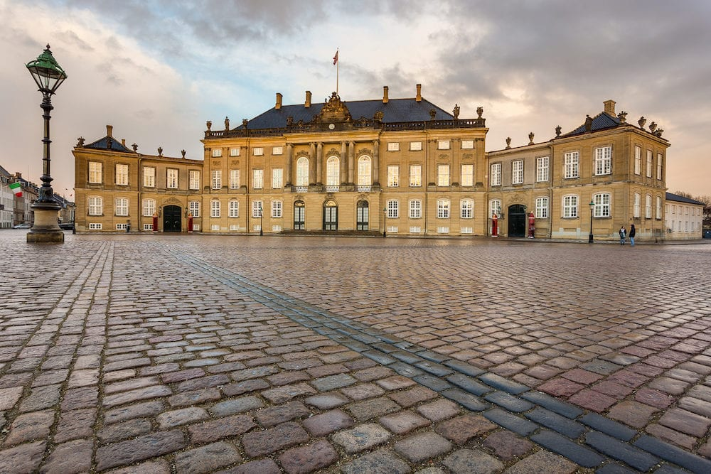 COPENHAGEN, DENMARAK- Frederick VIII's Palace in Amalienborg. Home of the Danish royal family. Consists of four identical classical palace.
