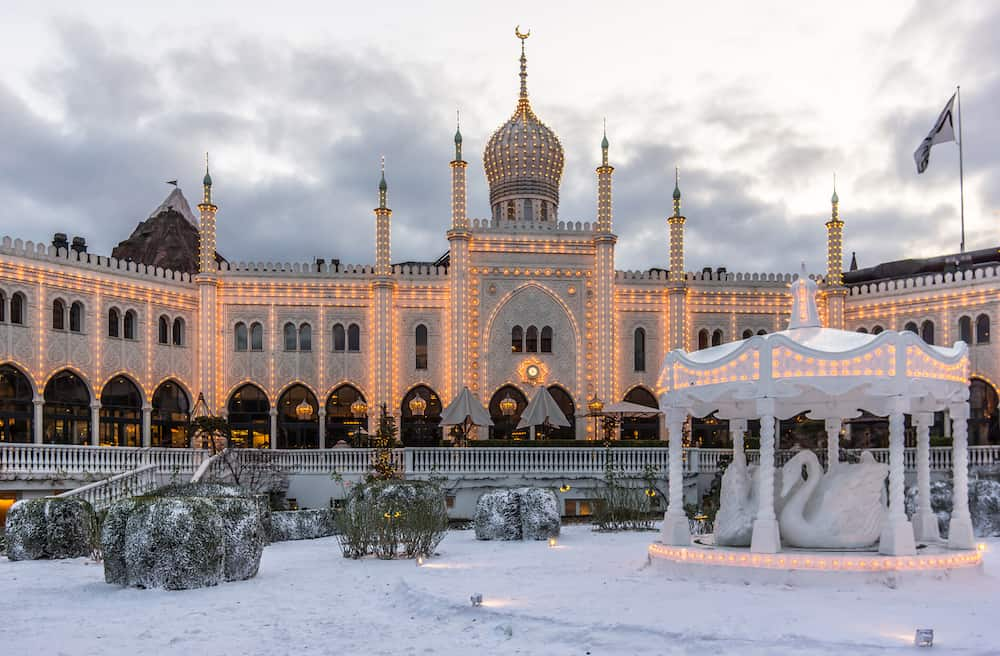 Winter decoration at the Moorish Palace in Tivoli gardens Copenhagen Denmark