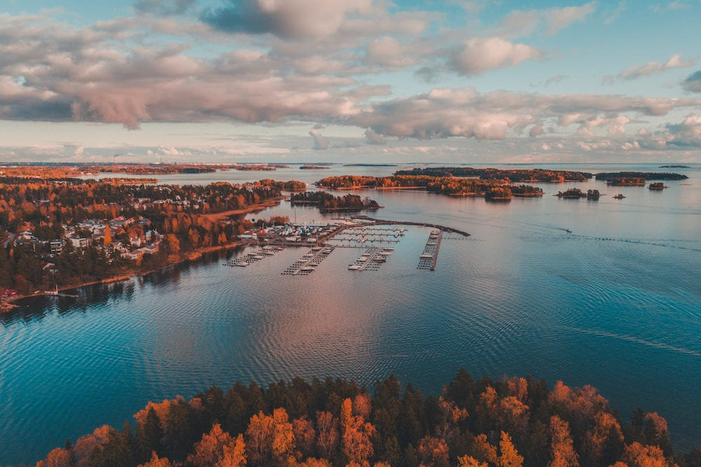 Nuottaniemi marina with boats on pier and on land being stored, Espoo Finland