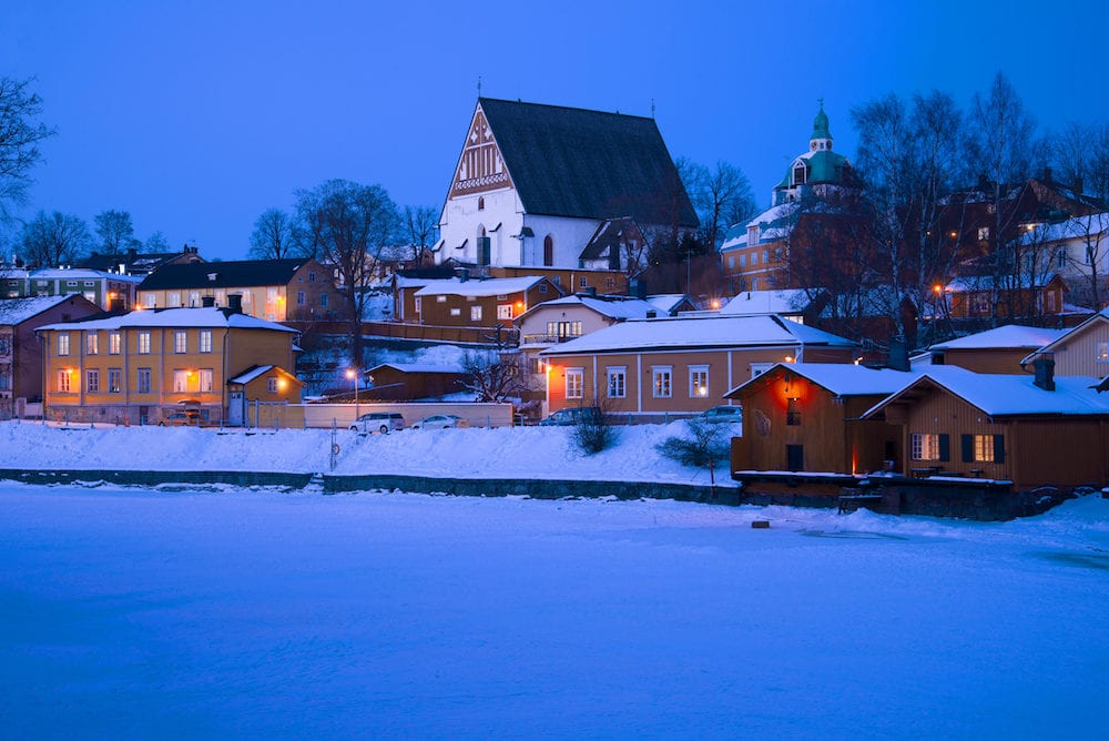 View of the ancient cathedral in the February twilight. Winter Porvoo, Finland
