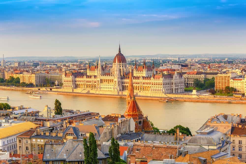 Budapest city skyline at Hungalian Parliament and Danube River Budapest Hungary