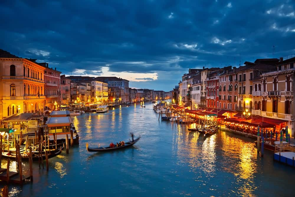 View on Grand Canal at night, Venice, Italy