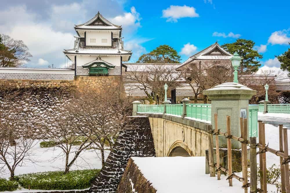 Kanazawa, Japan at Kanazawa Castle in the winter.