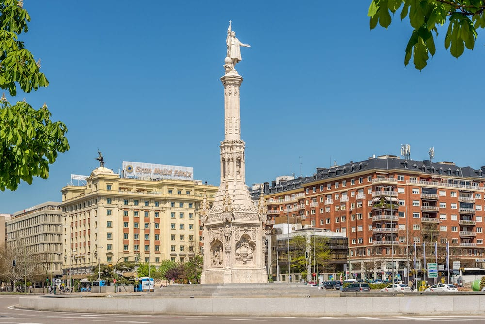 MADRID,SPAIN - Columbus square with Monument to Christopher Columbus. Columbus Square (Plaza de Colon) is located in the encounter of Chamberi Centro and Salamanca districts of Madrid.