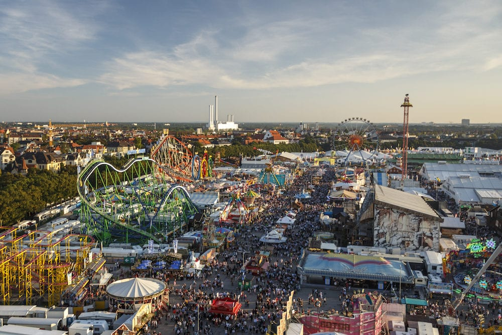 Munich, Germany - : Aerial view on the Oktoberfest on Theresienwiese in Munich