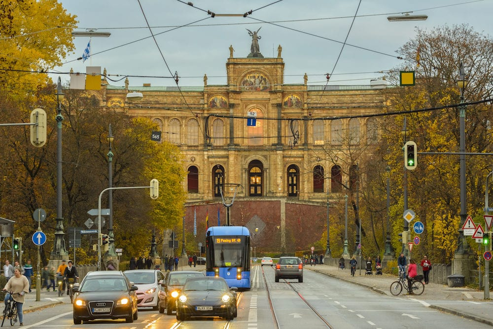 Bavaria Government building on Maximilian street on in Munich Germany