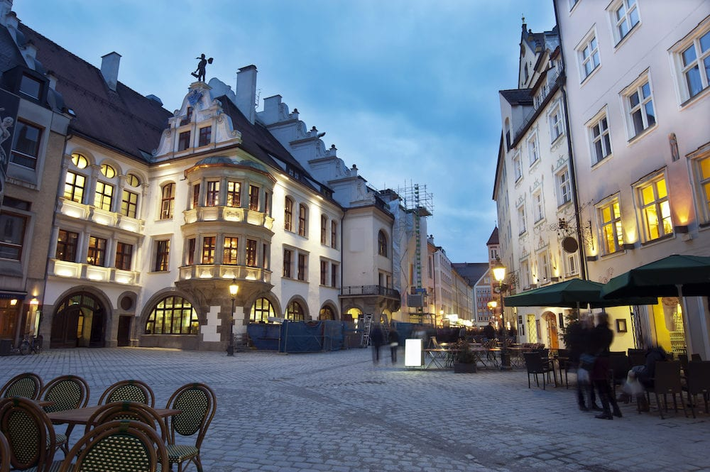 Munich City Center in the evening Hofbrauhouse