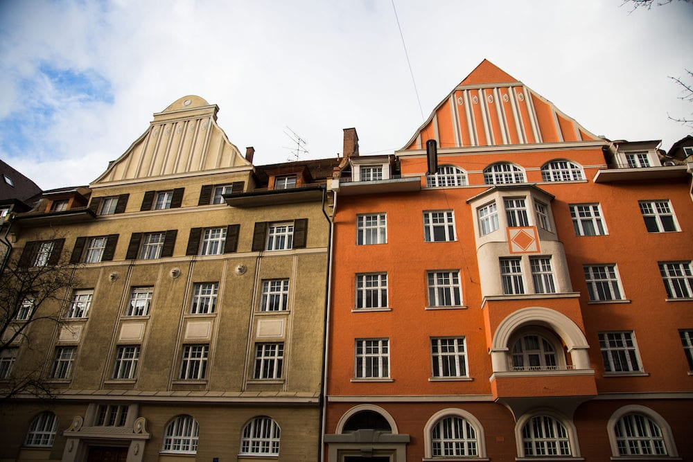 Old houses in Schwabing, orange and green facade