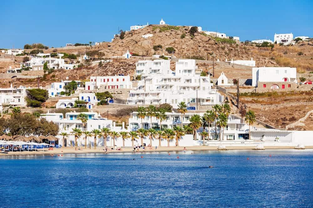 Ornos beach on the Mykonos island Cyclades in Greece