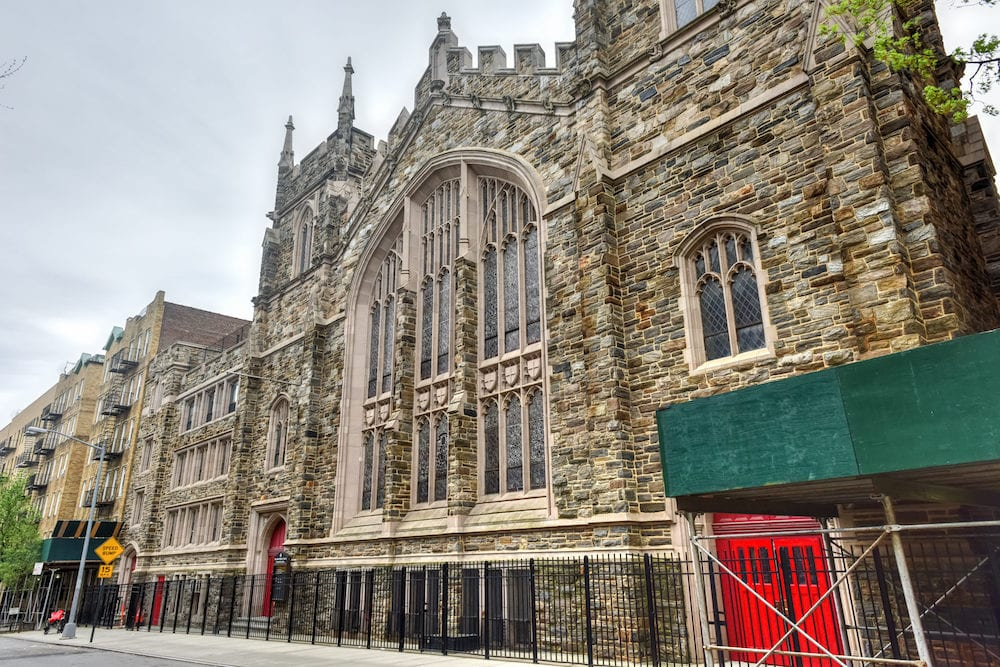 Abyssinian Baptist Church located at 132 West 138th Street between Adam Clayton Powell Jr. Boulevard and Lenox Avenue in the Harlem neighborhood of Manhattan New York City built in 1922-23.