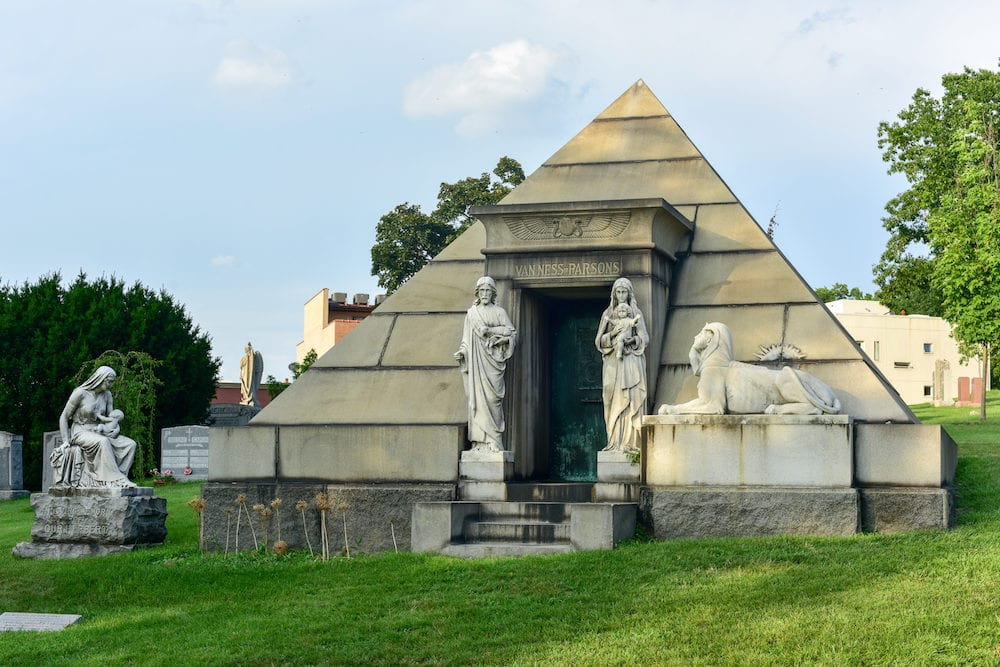 Brooklyn, New York - \Majestic tomb in the historic Greenwood Cemetery in Brooklyn New York.