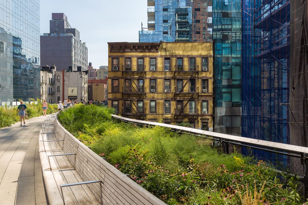 New York, NYC, USA- The High Line, known as High Line Park, elevated linear park, green way and rail trail.