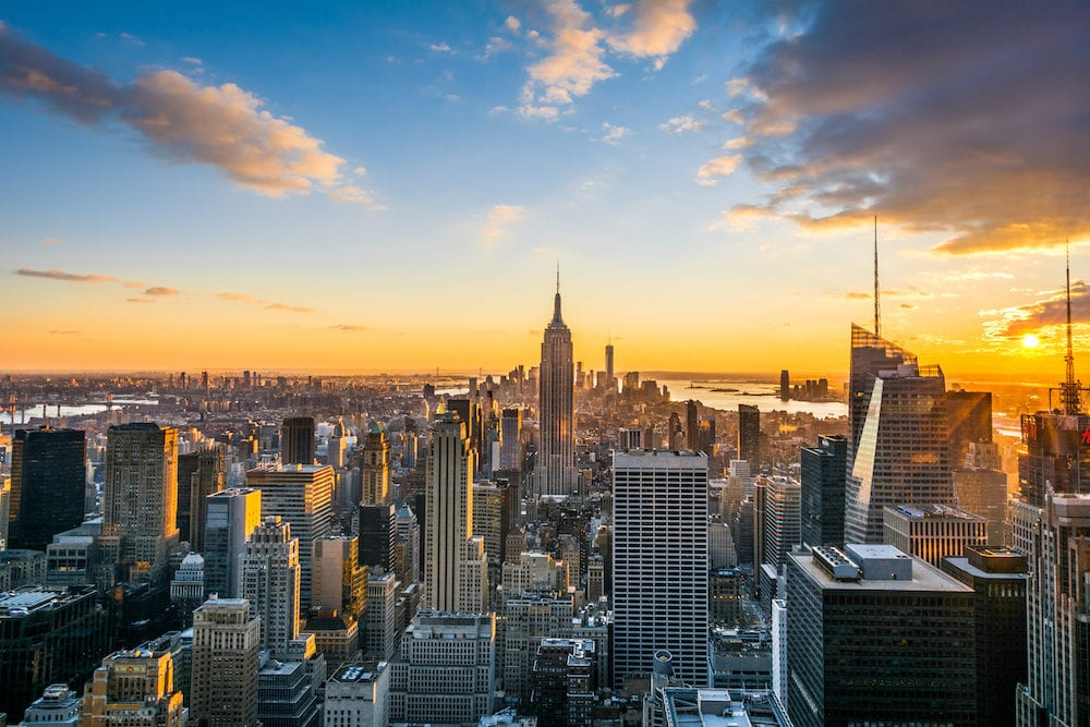 New York City Manhattan skyline at sunset, view from Top of the Rock, Rockfeller Center, United States
