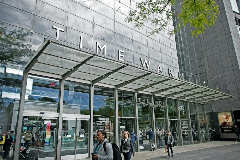 New York - People walk outside the front entrance to the Time Warner Center at Columbus Circle in Manhattan.