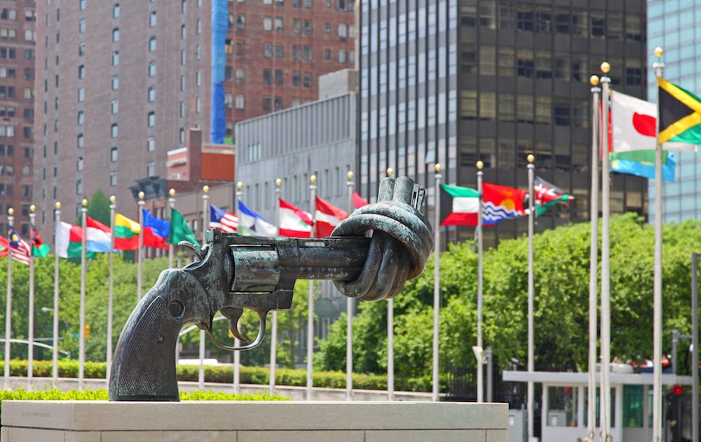 the united nation headquarter plaza in new york city