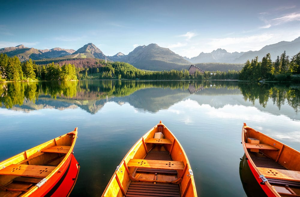 Wonderful mountain lake in National Park High Tatra. Location place Strbske pleso, Slovakia, Europe. Scenic image of splendid nature landscape. Breathtaking summer view. Discover the beauty of earth.