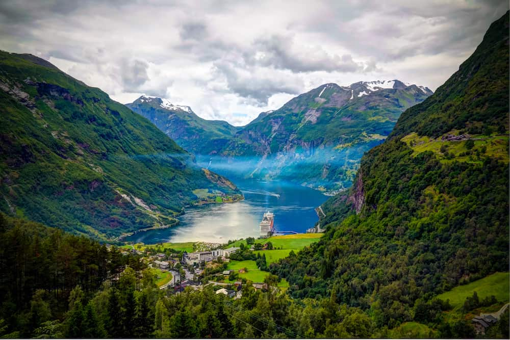 Aerial panorama view to Geiranger fjord and Trollstigen at Norway