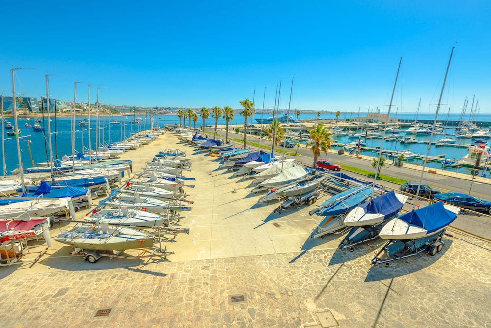 Cascais, Portugal - : yacht and motor boats at Cascais marina. The Marina is located under the Cascais Cidadela, on the southern tip of Cascais. Summer holidays in a sunny day.