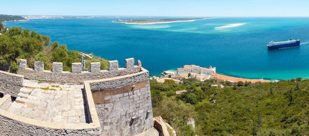 Summer sea coastal landscape of Nature Park Arrabida in Setubal, Portugal. Two shots stitch panorama.