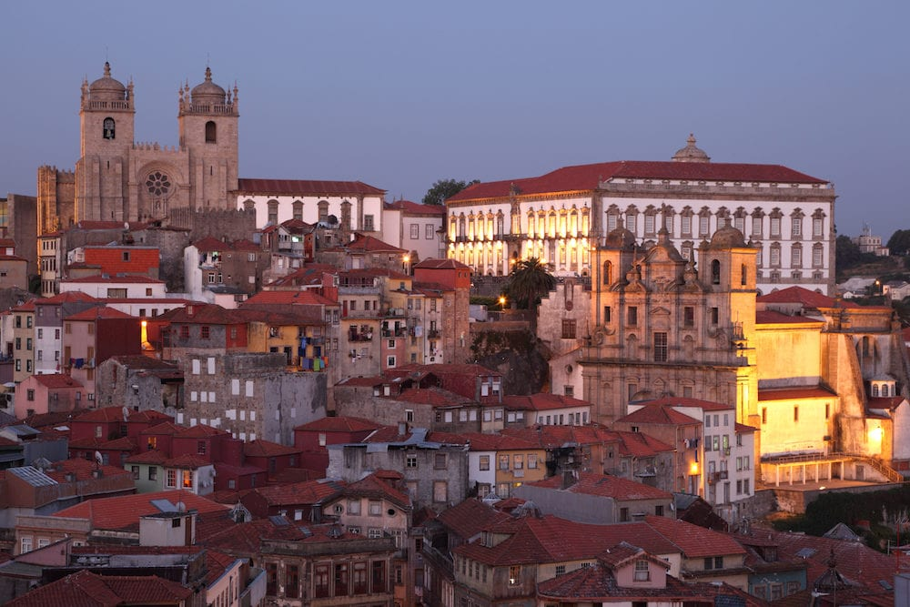 The old town of Porto - Ribeira - at dusk Portugal
