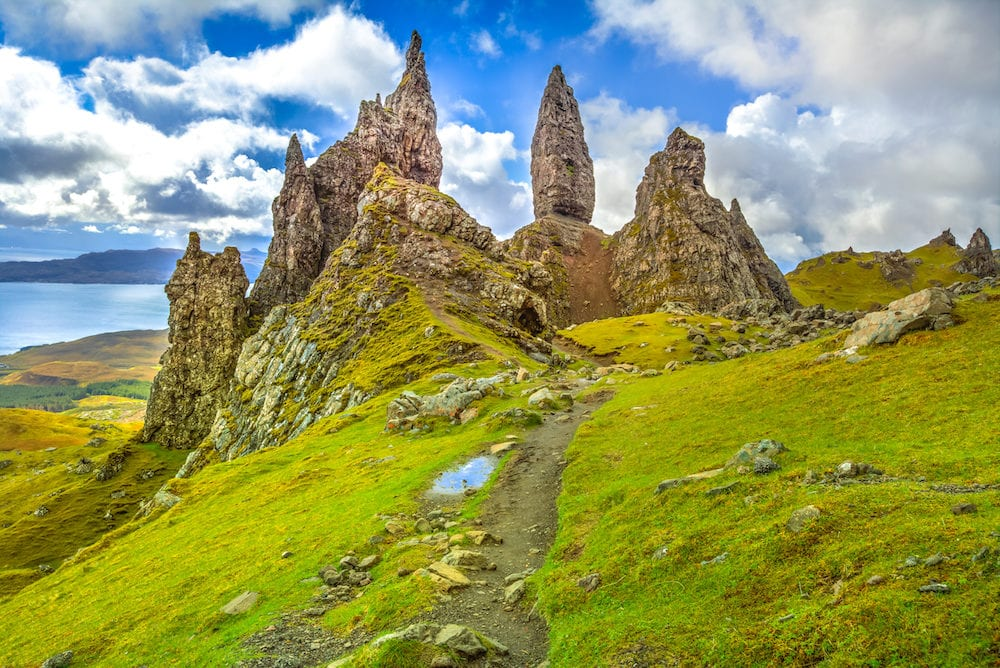 Famous rock pinnacles Old Man of Storr, on a north hill in the isle of Skye island of Highlands in Scotland, United Kingdom. Old Man of Storr is one of the most photographed wonders in the Scotland.