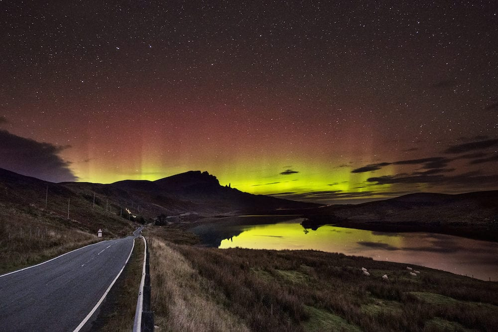 Northern Lights on the isle of Skye over the Old Man of Storr